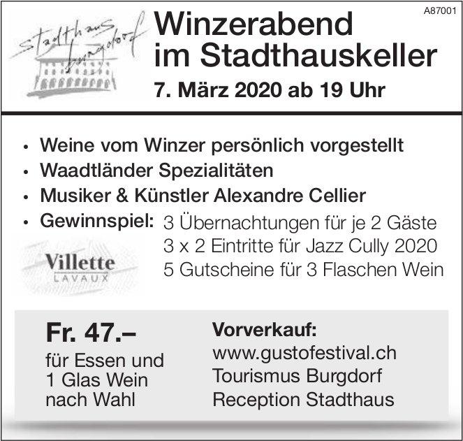 Winzerabend im Stadthauskeller, 7. März, Burgdorf