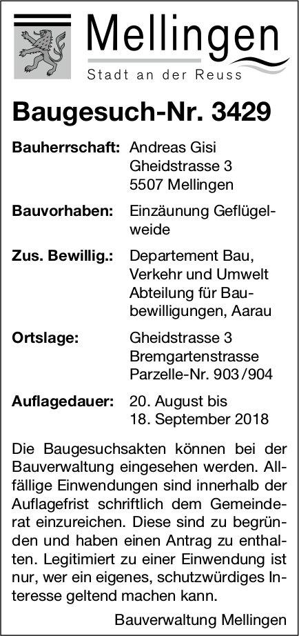 Mellingen: Baugesuch-Nr. 3429