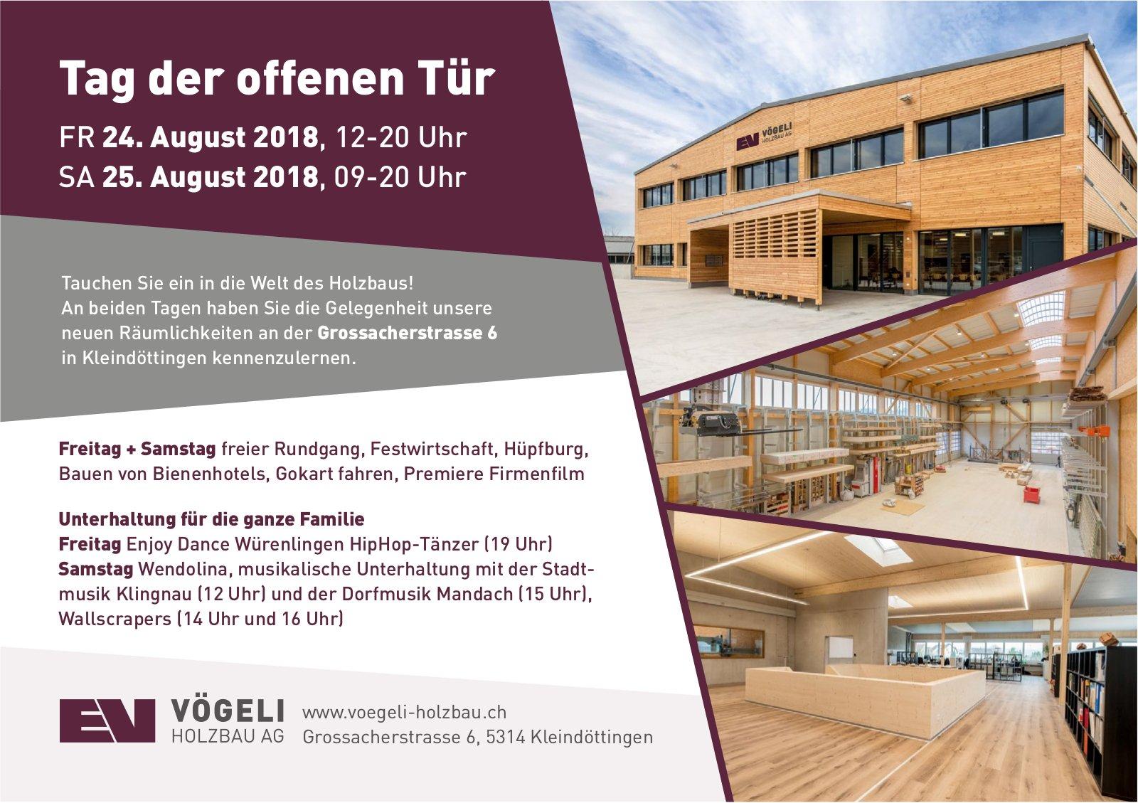 Tag der offenen Tür am 24./25. August, Vögeli Holzbau AG
