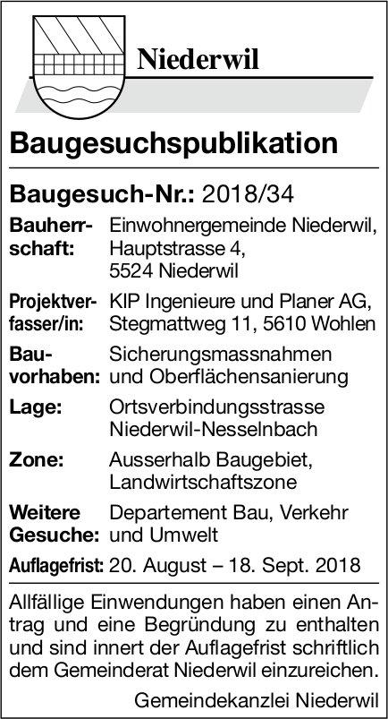Niederwil: Baugesuch-Nr.: 2018/34