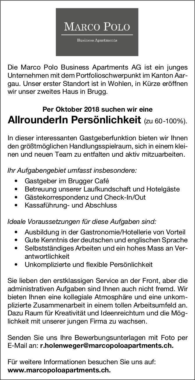 AllrounderIn Persönlichkeit (zu 60-100%) gesucht, Marco Polo Business Apartments AG