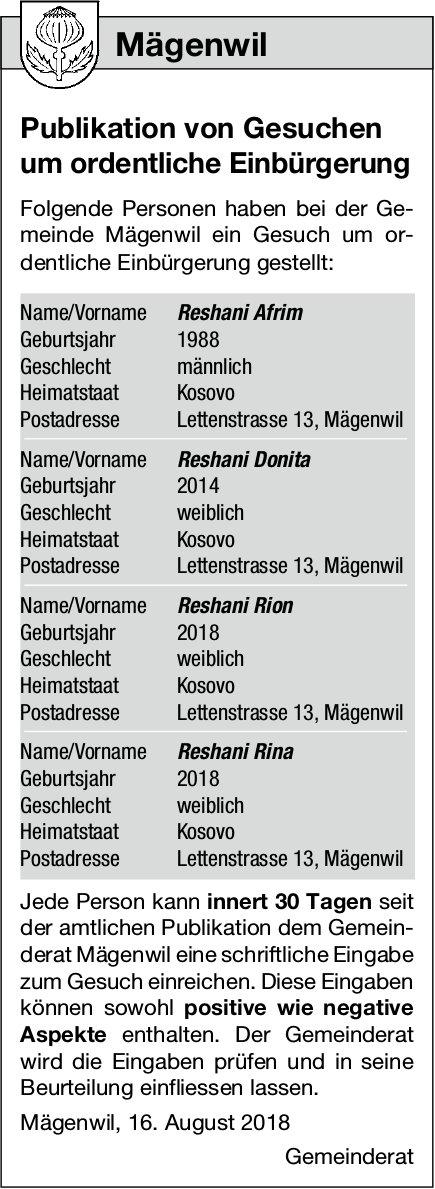 Mägenwil: Publikation von Gesuchen um ordentliche Einbürgerung
