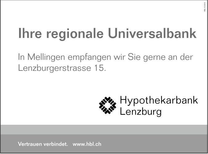 Ihre regionale Universalbank, Hypothekarbank Lenzburg