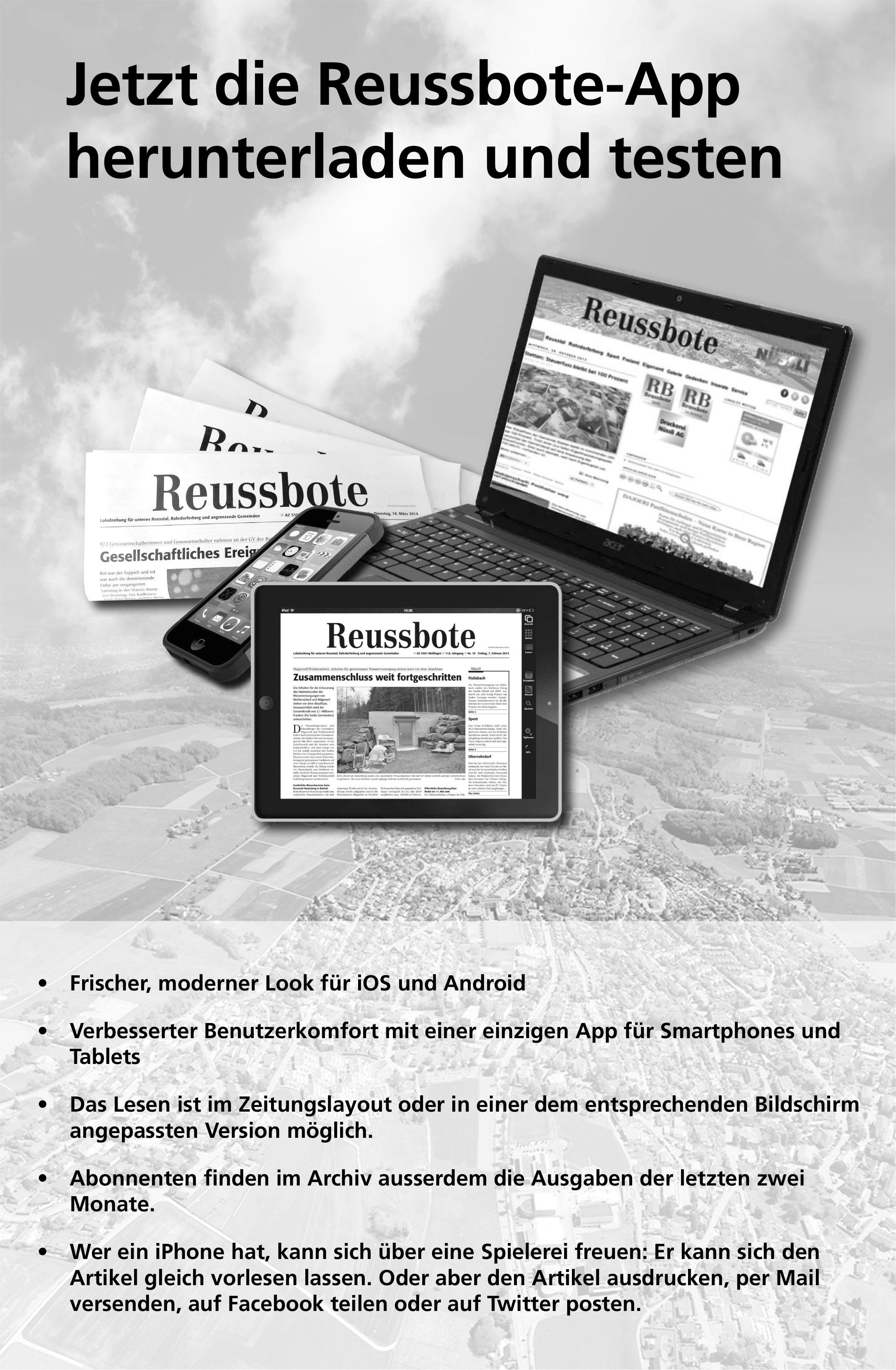 Jetzt die Reussbote-App herunterladen und testen