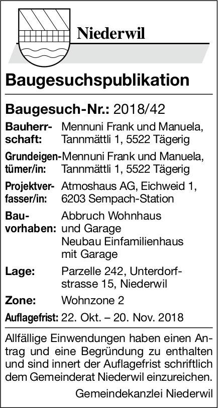 Niederwil: Baugesuch-Nr.: 2018/42