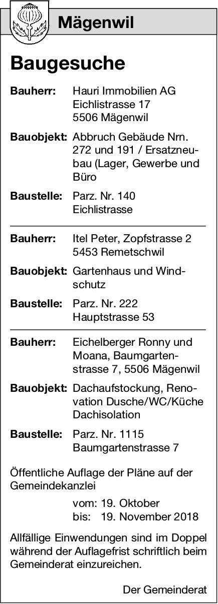 Mägenwil: Baugesuche