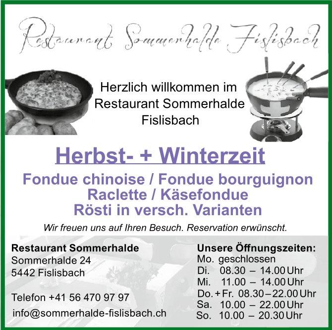 Herbst- + Winterzeit, Restaurant Sommerhalde Fislisbach