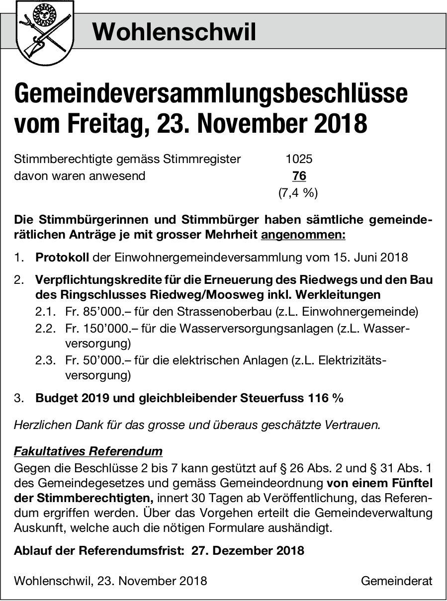 Wohlenschwil: Gemeindeversammlungsbeschlüsse, 23. Nov.