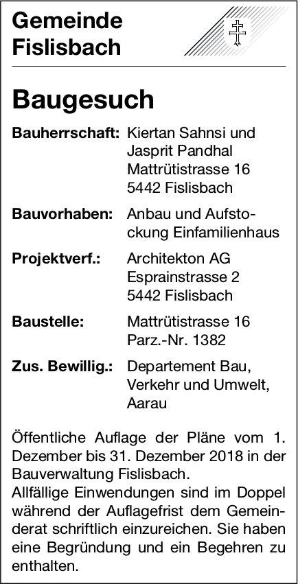 Gemeinde Fislisbach: Baugesuch