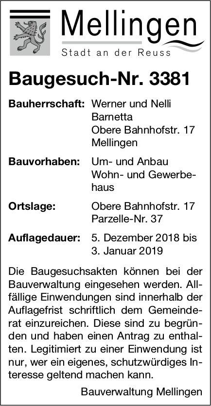 Mellingen: Baugesuch-Nr. 3381