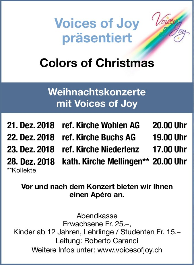 Colors of Christmas - Weihnachtskonzert mit Voices of Joy