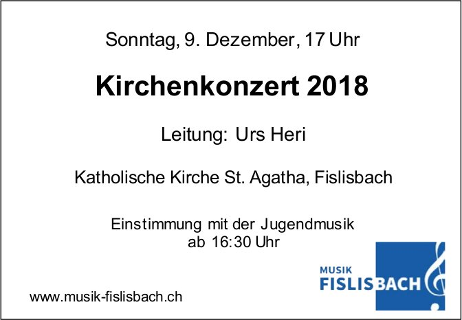 Kirchenkonzert 2018, 9. Dez., Kath. Kirche St. Agatha
