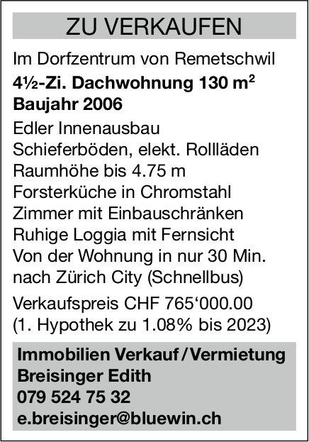 4½-Zi. Dachwohnung 130 m², Dorfzentrum Remetschwil, zu verkaufen