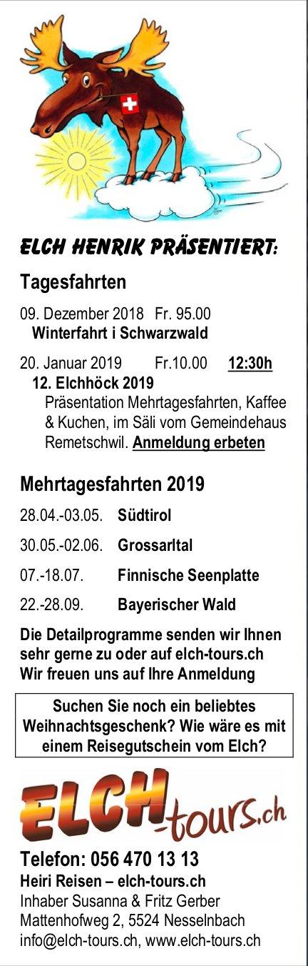 Tagesfahrten / Mehrtagesfahrten 2019, Heiri Reisen - elch-tours.ch