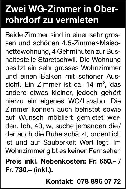 Zwei WG-Zimmer, Oberrohrdorf, zu vermieten