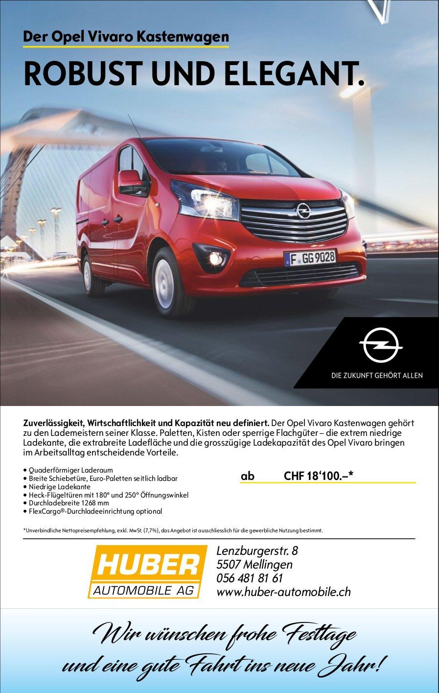 Der Opel Vivaro Kastenwagen, Huber Automobile AG