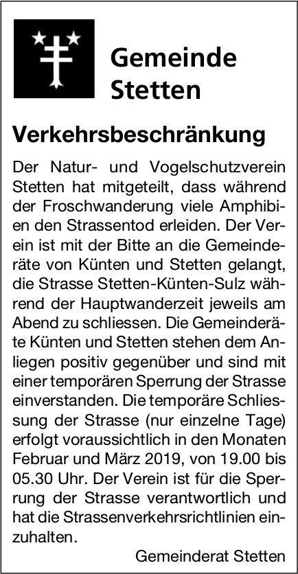 Gemeinde Stetten: Verkehrsbeschränkung