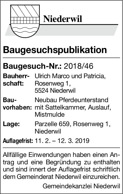 Niederwil Baugesuch-Nr.: 2018/46