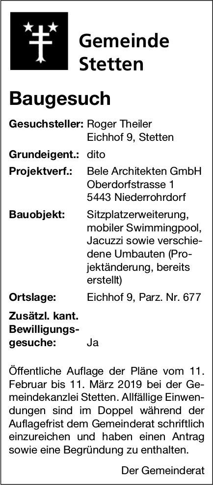 Gemeinde Stetten: Baugesuch