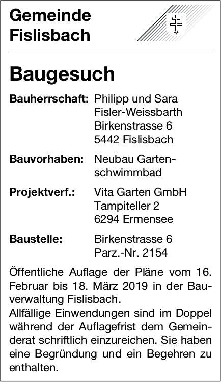 Gemeinde Fislisbach, Baugesuch