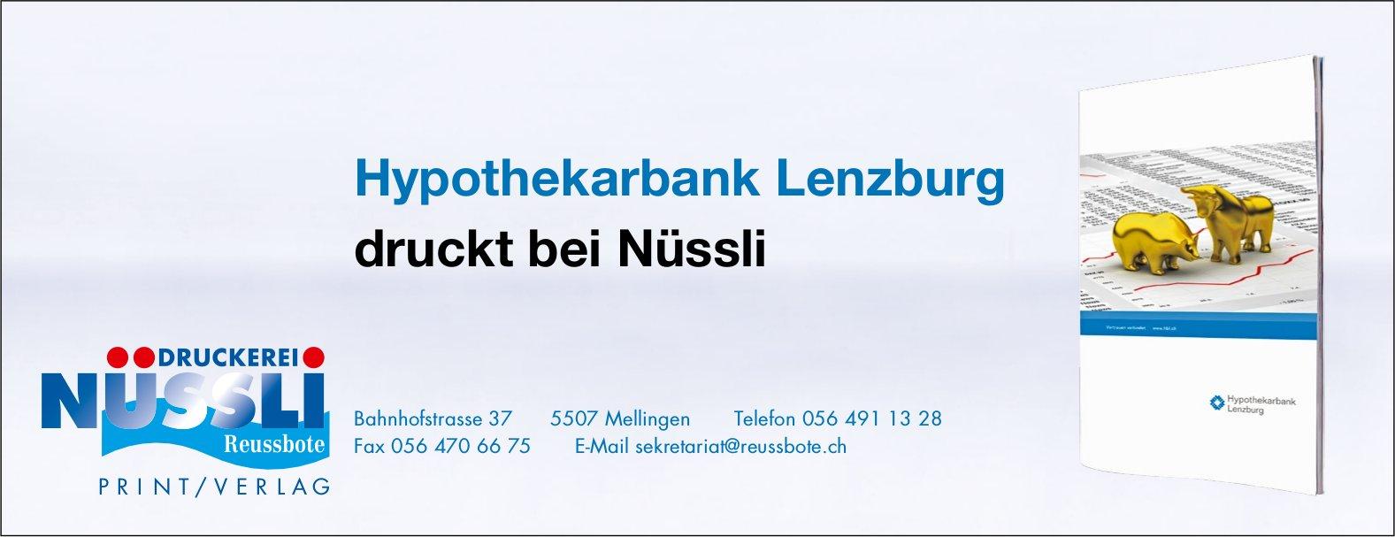 Hypothekarbank Lenzburg druckt bei Nüssli
