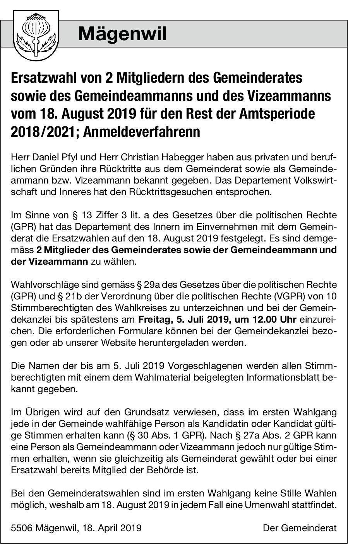 Mägenwil - Ersatzwahl von 2 Mitgliedern des Gemeinderates, des Gemeindeammanns und des Vizeammanns
