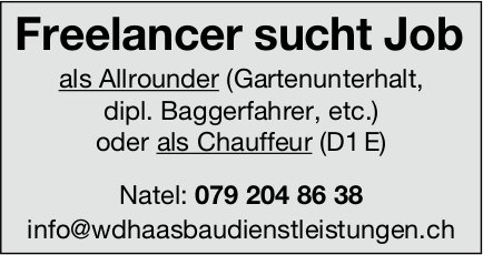 Freelancer sucht Job