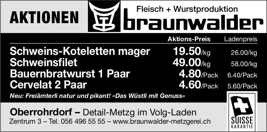 Fleisch + Wurstproduktion Braunwalder - Aktionen