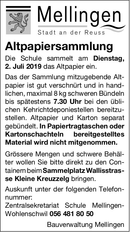 Mellingen - Altpapiersammlung am 2. Juli