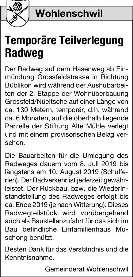 Wohlenschwil - Temporäre Teilverlegung Radweg