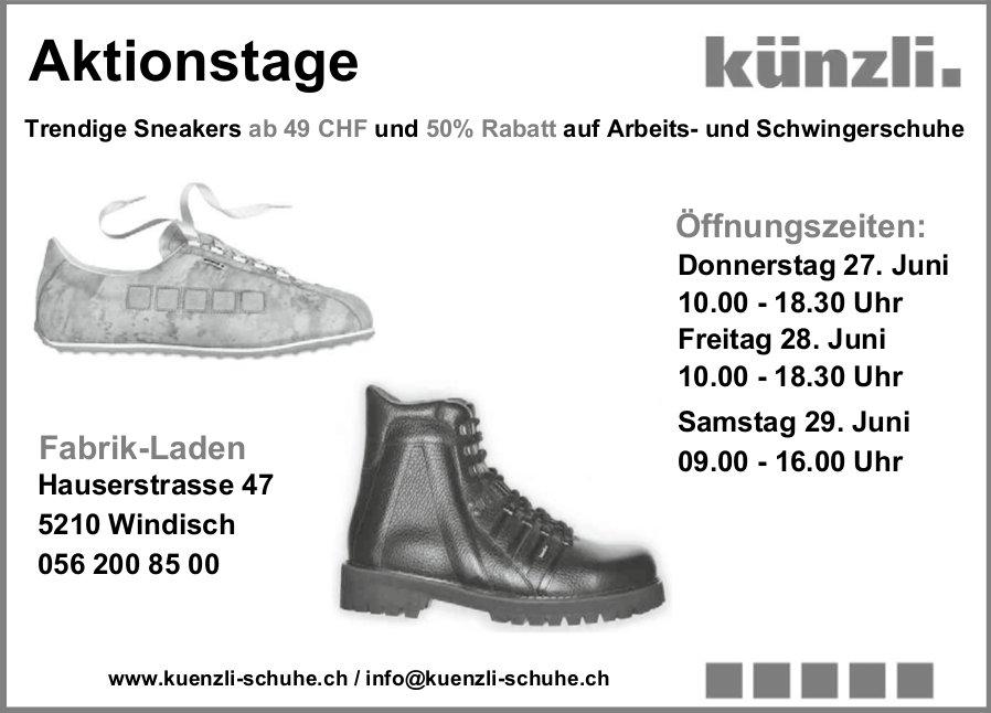 Aktionstage Künzli Schuhe, 27./28./29. Juni