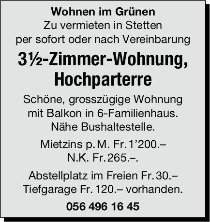 3 ½-Zimmer-Wohnung, Hochparterre in Stetten zu vermieten