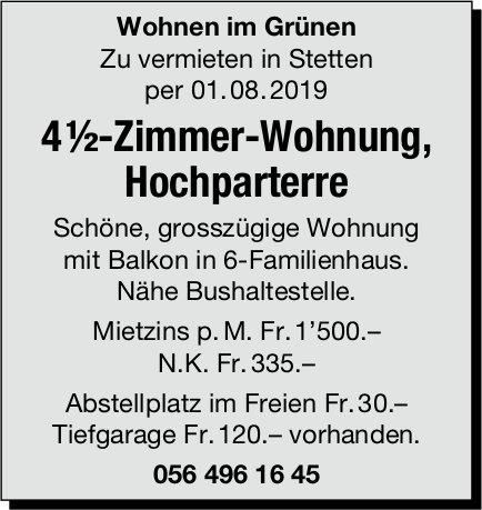 4 ½-Zimmer-Wohnung, Hochparterre, in Stetten zu vermieten