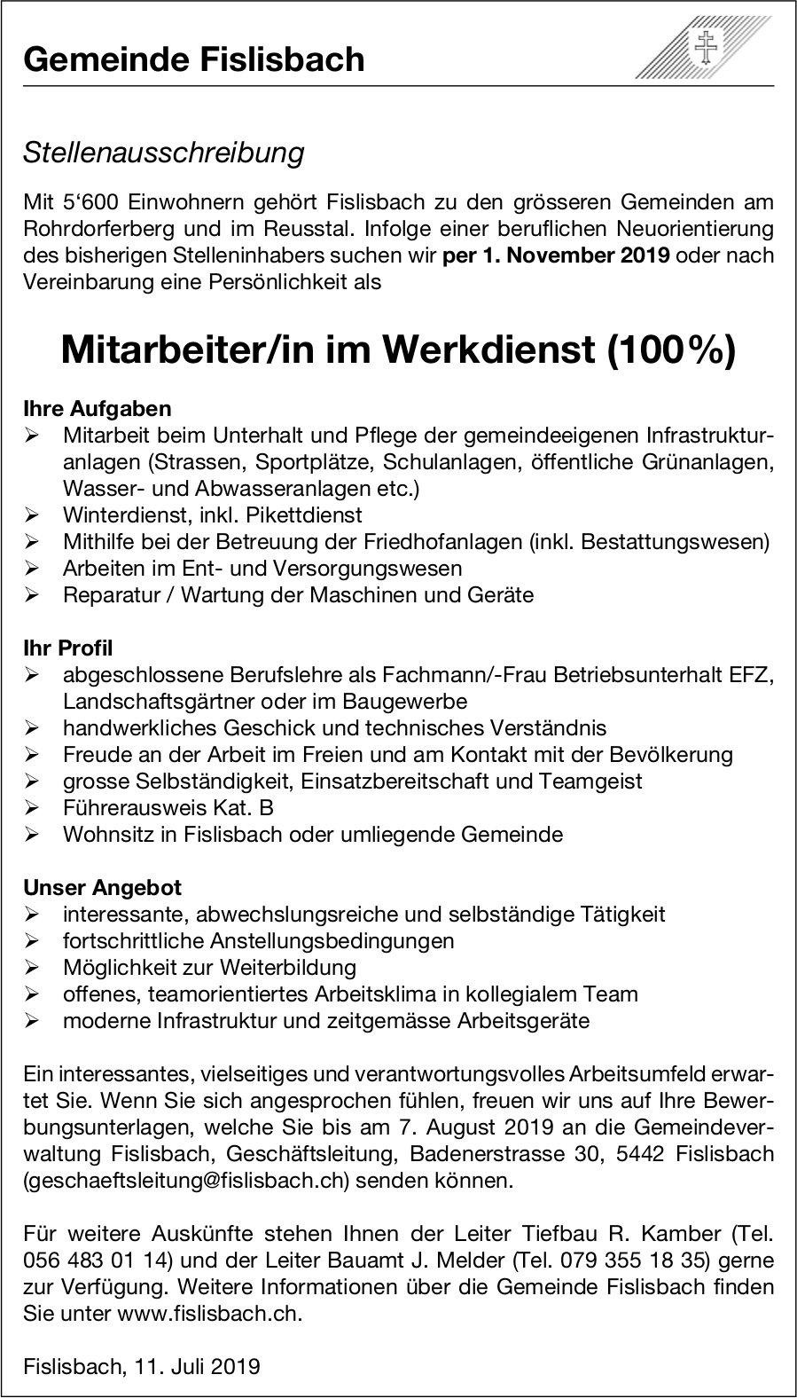 Mitarbeiter/in im Werkdienst (100%) bei Gemeinde Fislisbach gesucht