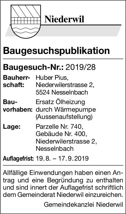 Niederwil - Baugesuchspublikation