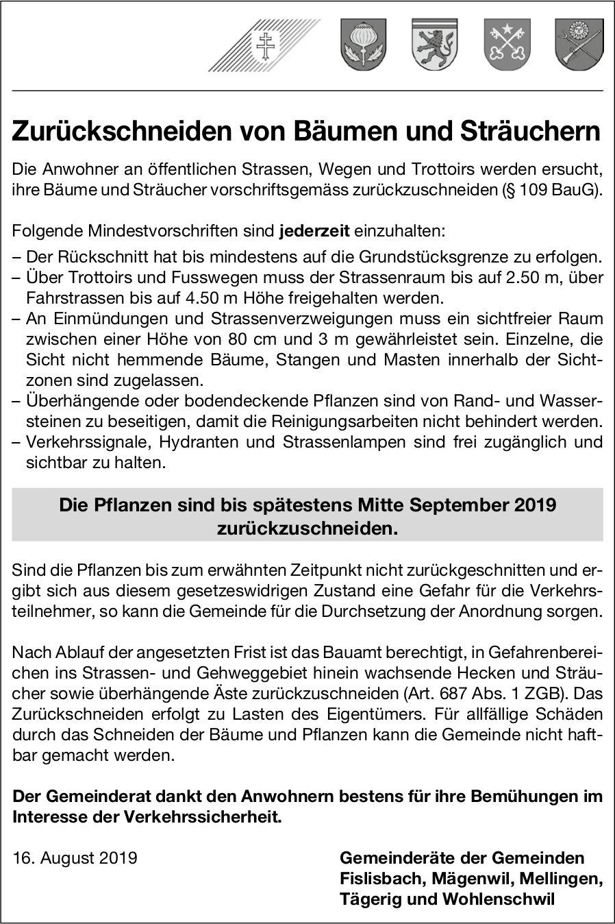 Fislisbach, Mägenwil, Mellingen, Tägerig, Wohlenschwil - Zurückschneiden von Bäumen und Sträuchern