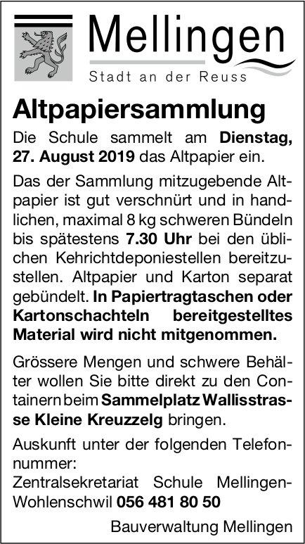 Mellingen - Altpapiersammlung am 27. August