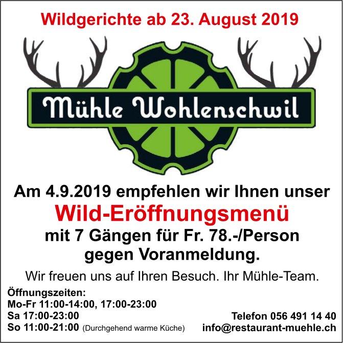 Mühle Wohlenschwil - Wildgerichte ab 23. August + Wild-Eröffnungsmenü am 4. September