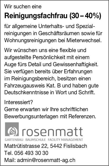 Reinigungsfachfrau (30 – 40%) bei Rosenmatt gesucht