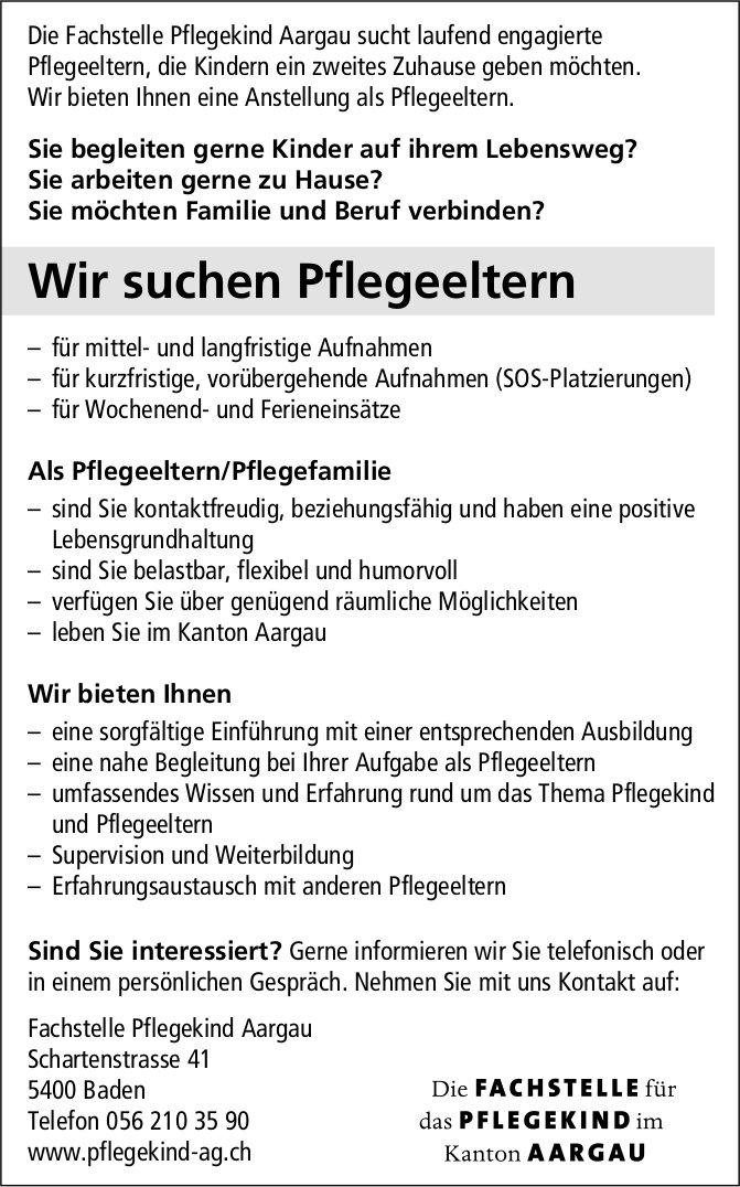 Pflegeeltern bei Fachstelle Pflegekind Aargau gesucht