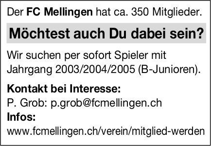 Der FC Mellingen sucht Spieler mit Jahrgang 2003/2004/2005