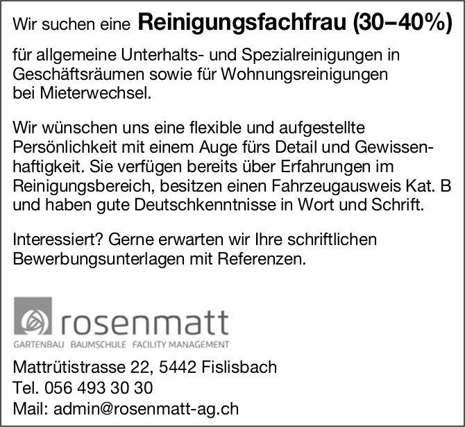 Reinigungsfachfrau (30–40%) bei Rosenmatt gesucht