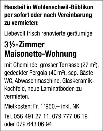 3 ½-Zimmer Maisonette-Wohnung in Wohlenschwil-Büblikon zu vermieten