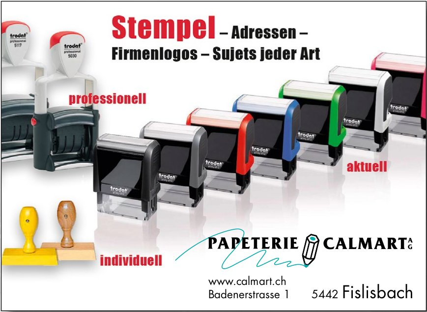 Papeterie Calmart AG - Stempel, Adressen, Firmenlogos, Sujets jeder Art