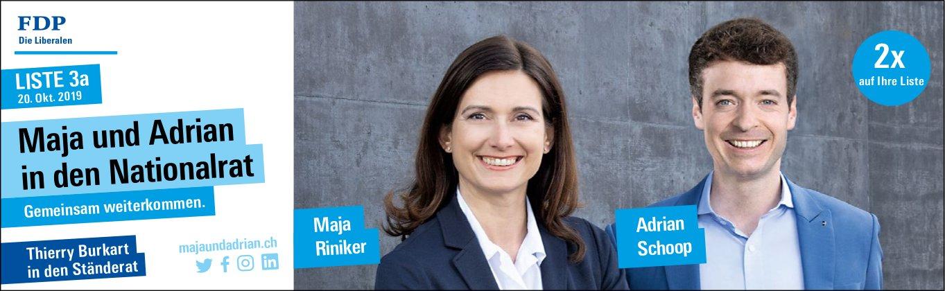 FDP - Maja Riniker und Adrian Schoop in den Nationalrat