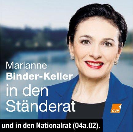 CVP - Marianne Binder-Keller in den Ständerat und in den Nationalrat