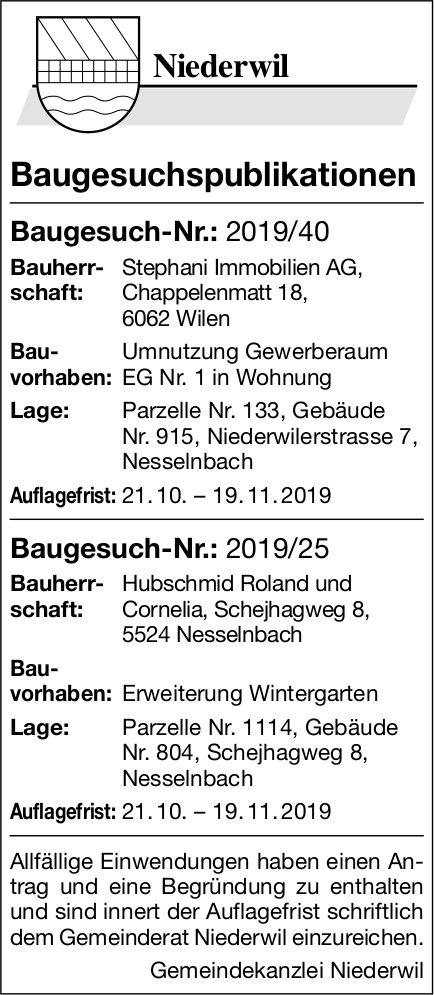 Niederwil - Baugesuchspublikationen