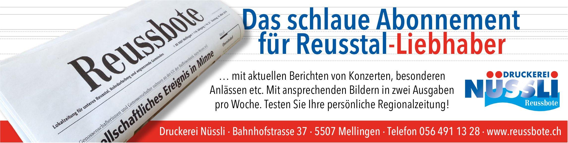 Die Reussbote - Das schlaue Abonnement für Reusstal-Liebhaber
