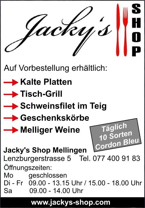 Jacky's Shop Mellingen - Auf Vorbestellung erhältlich: Kalte Platten, Tisch-Grill uvm.