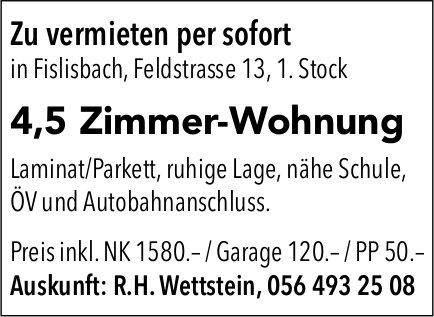 4,5 Zimmer-Wohnung in Fislisbach per sofort zu vermieten